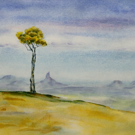 (CreativeWork) One Tree Hill by Judi Parkinson. Watercolour Paint. Shop online at Bluethumb.