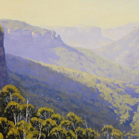 (CreativeWork) Govetts leap blackheath by Graham Gercken. Oil Paint. Shop online at Bluethumb.