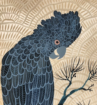 (CreativeWork) Black Cockatoo Japonisme by Sally Browne. Watercolour Paint. Shop online at Bluethumb.