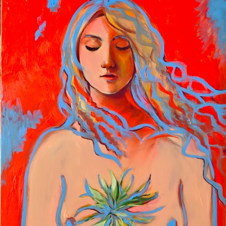 (CreativeWork) Nude with Plant  by Rebecca Read. Oil Paint. Shop online at Bluethumb.