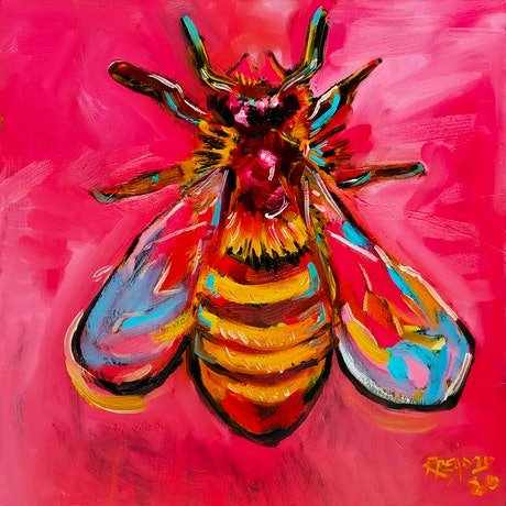 (CreativeWork) Rainbow Bee  by Rebecca Read. Oil Paint. Shop online at Bluethumb.
