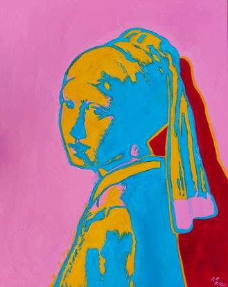 (CreativeWork) Pop Art with a Pearl Earring  by Rebecca Read. Oil Paint. Shop online at Bluethumb.
