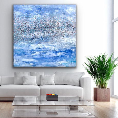 (CreativeWork) Blue Sparkles   by Theo Papathomas. Oil Paint. Shop online at Bluethumb.