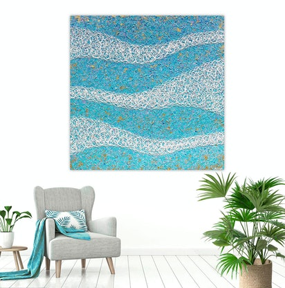 (CreativeWork) Coastal Tranquil Waters Interrupted Textured Abstract - SPECIAL by Miranda Lloyd. Mixed Media. Shop online at Bluethumb.
