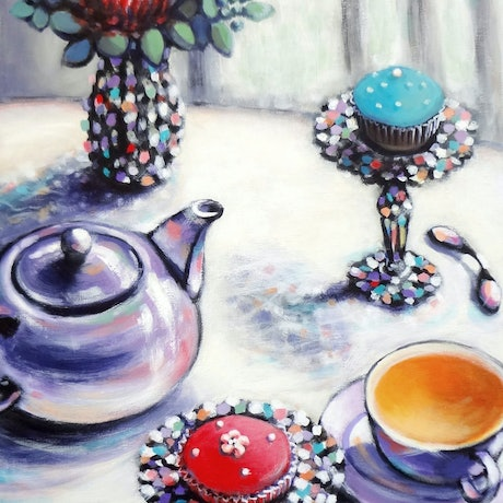 (CreativeWork) Introductory Price till 5th June - Australian Afternoon with Cupcakes - STILL LIFE  by Olga Kolesnik. Acrylic Paint. Shop online at Bluethumb.