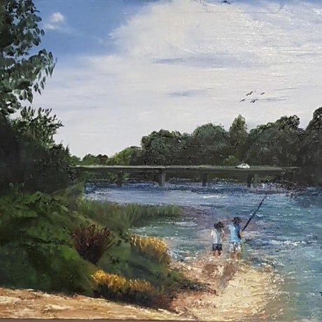 (CreativeWork) Windsor Bridge, Forever Changed  by Annmaree Mitchell. Oil Paint. Shop online at Bluethumb.