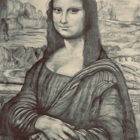 (CreativeWork) Mona Lisa in pencil by Tom Keel. Drawings. Shop online at Bluethumb.