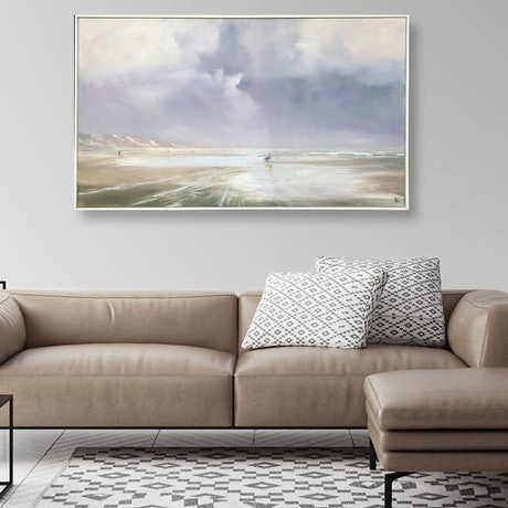 (CreativeWork) Storm Cocklers - Goolwa Beach by Mike Barr. Oil Paint. Shop online at Bluethumb.