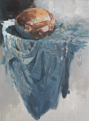 (CreativeWork) Bread on Linen by Tony Belobrajdic. Acrylic Paint. Shop online at Bluethumb.