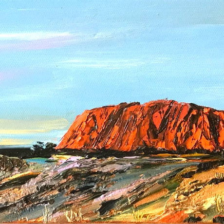 (CreativeWork) Uluru / Ayers Rock by Hilly Coufreur. Oil Paint. Shop online at Bluethumb.