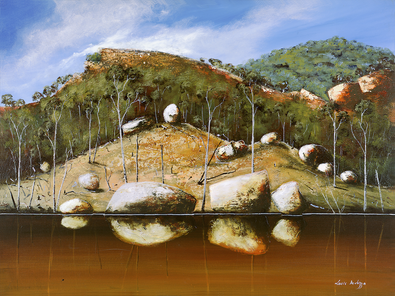 (CreativeWork) Banks Of The Durack River, WA by Louis Dalozzo. Acrylic Paint. Shop online at Bluethumb.