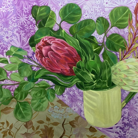 (CreativeWork) Proteas, Daisies and the enamel Jug  by Alicia Cornwell. Oil Paint. Shop online at Bluethumb.