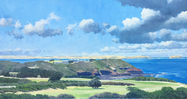 (CreativeWork) Flinders Headland from the west by Steven Heyen. Oil Paint. Shop online at Bluethumb.
