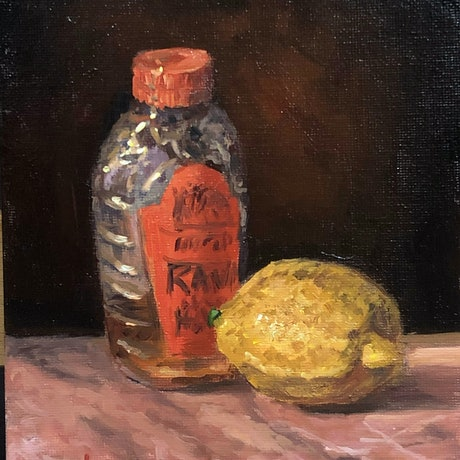 (CreativeWork) Lemon and Honey - still life  by Christopher Vidal. Oil Paint. Shop online at Bluethumb.