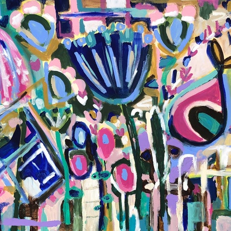 (CreativeWork) The Flowers That Always Grew by Jane Thompson. Acrylic Paint. Shop online at Bluethumb.