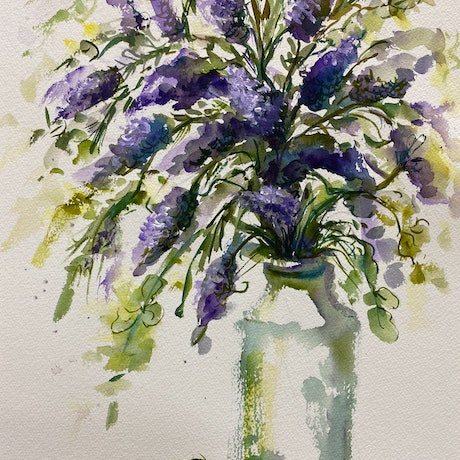 (CreativeWork) Lavander by Ivana Pinaffo. Watercolour Paint. Shop online at Bluethumb.