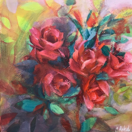 (CreativeWork) Red Roses Oil Painting  by Chris Hobel. Oil Paint. Shop online at Bluethumb.