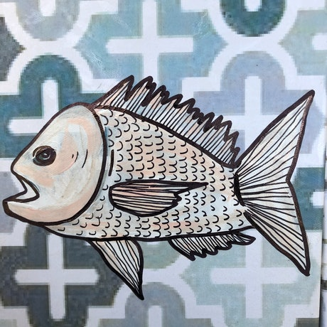 (CreativeWork) Free As a Fish by Sally Dunbar. Mixed Media. Shop online at Bluethumb.