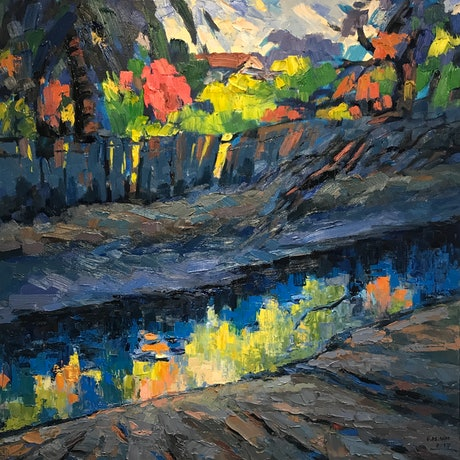 (CreativeWork) Later afternoon at Hawthorne Canal by Fangmin Wu. Oil Paint. Shop online at Bluethumb.
