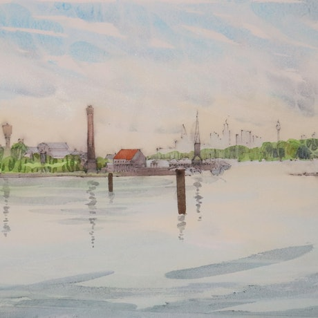 (CreativeWork) Smokey Dawn at Cockatoo Island by Gavin Bridge. Watercolour Paint. Shop online at Bluethumb.
