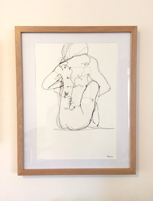 (CreativeWork) Girl with the flower tattoo  by Phil Herbison. Drawings. Shop online at Bluethumb.