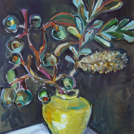 (CreativeWork) Still Life with Banksia and Gumnuts by Katerina Apale. Oil Paint. Shop online at Bluethumb.