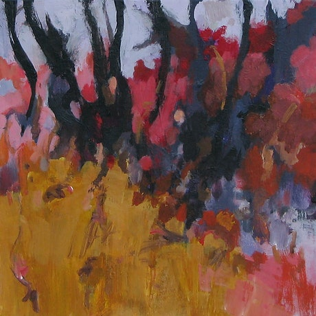 (CreativeWork) Paddock and gully by Susan Lhamo. Acrylic Paint. Shop online at Bluethumb.