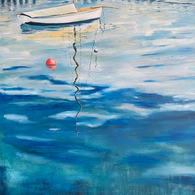 (CreativeWork) Once upon a wooden boat by Ben Musgrove. Acrylic Paint. Shop online at Bluethumb.