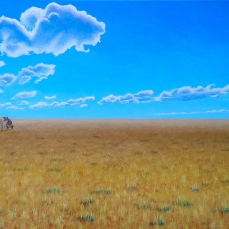 (CreativeWork) Last Ride by Geoff Harrison. Oil Paint. Shop online at Bluethumb.