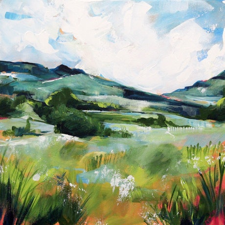 (CreativeWork) Landscape 3 by Eve Izzett. Acrylic Paint. Shop online at Bluethumb.
