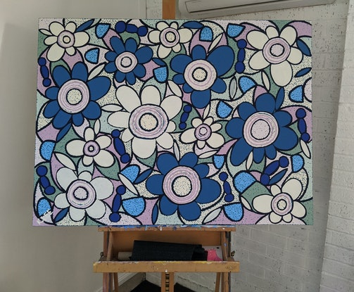(CreativeWork) 'Petals on the Wind' by Karen Lee. Acrylic Paint. Shop online at Bluethumb.