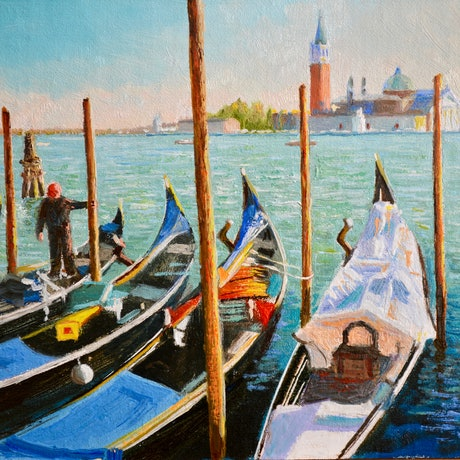 (CreativeWork) Gondolas at San Marco in Venice by Dai Wynn. Oil Paint. Shop online at Bluethumb.