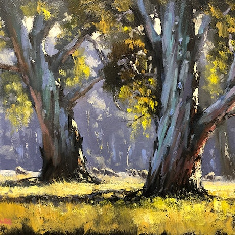 (CreativeWork) Sunny Morning, Wangaratta by John Rice. Oil Paint. Shop online at Bluethumb.
