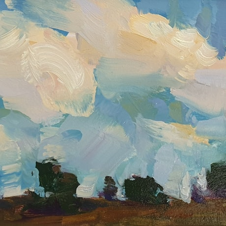 (CreativeWork) Landscape with clouds in Laceys Creek  by Minhan Cho. Oil Paint. Shop online at Bluethumb.