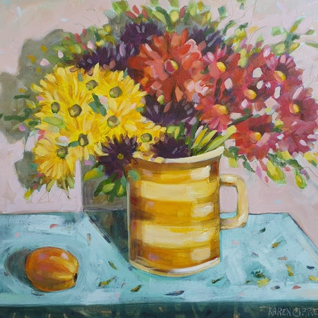 (CreativeWork) Flowers in a vintage jug by Karen Cipressi. Oil Paint. Shop online at Bluethumb.