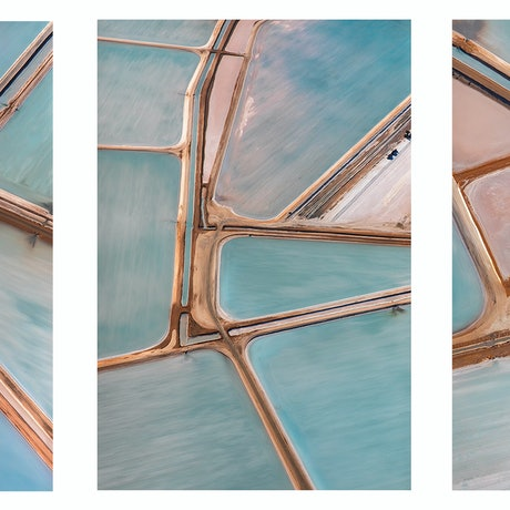 (CreativeWork) Trio of Salt Farm from Above on canvas ready to hang Ed. 1 of 5 by Craig Hammersley. Photograph. Shop online at Bluethumb.