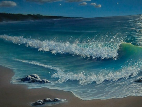 (CreativeWork) Evening Shores by Leoni Hines. Oil Paint. Shop online at Bluethumb.