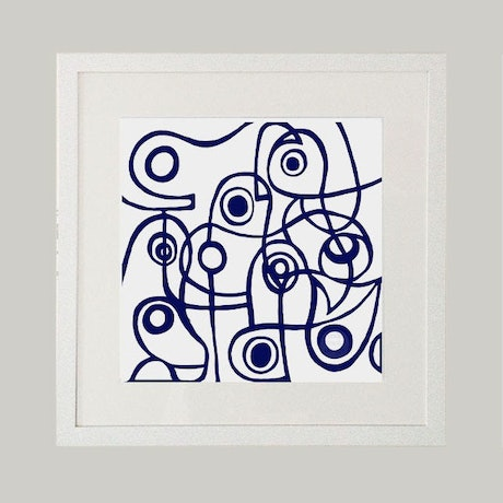 (CreativeWork) Modernist Blue - 84 x 84cm square - Limited Edition giclee print   Ed. 4 of 100 by Shana Danon. Print. Shop online at Bluethumb.