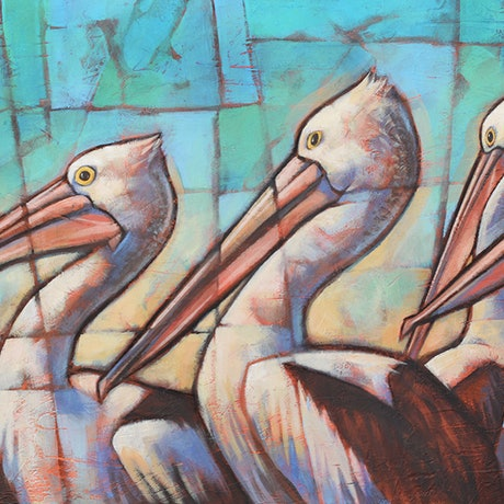 (CreativeWork) Pelican Parade by Malcolm Lindsay. Acrylic Paint. Shop online at Bluethumb.