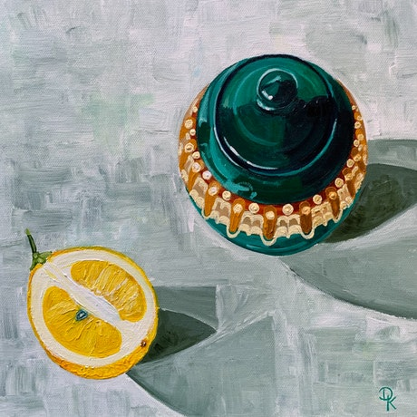 (CreativeWork) Babcia's Sugar Bowl  With Half A Lemon by Dominika Keller. Acrylic Paint. Shop online at Bluethumb.