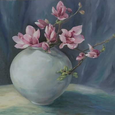 (CreativeWork) Pink Magnolia by Sue Yoon. Oil Paint. Shop online at Bluethumb.