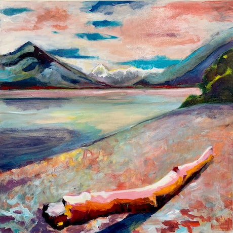(CreativeWork) Log on the River Bed  by Alison Pilcher. Acrylic Paint. Shop online at Bluethumb.