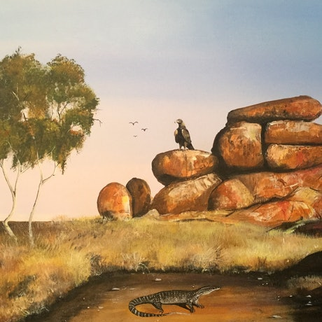 (CreativeWork) Eagle Goanna and a mouse by Geoff Lugg. Acrylic Paint. Shop online at Bluethumb.