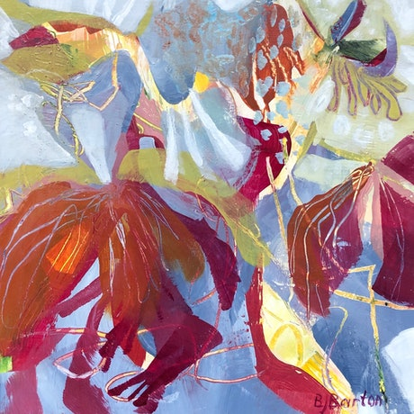 (CreativeWork) Tropical Paradise by Bronwyn Barton. Acrylic Paint. Shop online at Bluethumb.