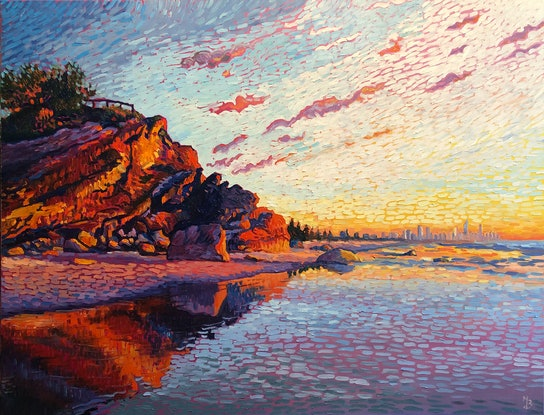 (CreativeWork) First Light (North Burleigh) by Michael Baker. Oil Paint. Shop online at Bluethumb.