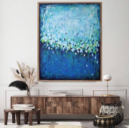 (CreativeWork) Sacred Watering Hole - Large Abstract by Belinda Nadwie. Oil Paint. Shop online at Bluethumb.