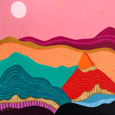 (CreativeWork) Under pink sky by emma whitelaw. Acrylic Paint. Shop online at Bluethumb.
