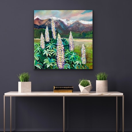 (CreativeWork) Lupins in New Zealand  by Alison Pilcher. Acrylic Paint. Shop online at Bluethumb.