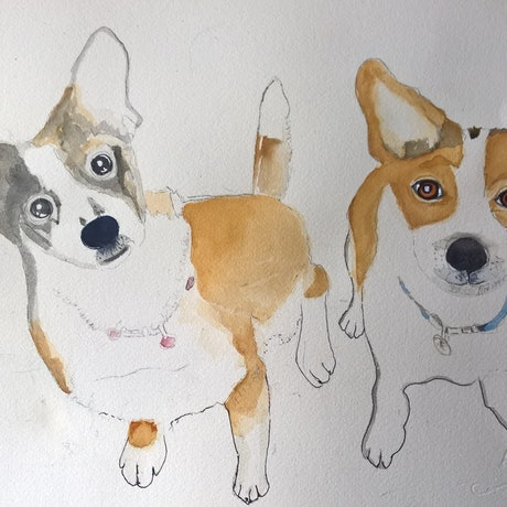 (CreativeWork) MY Boys by Frances Swan. Watercolour Paint. Shop online at Bluethumb.