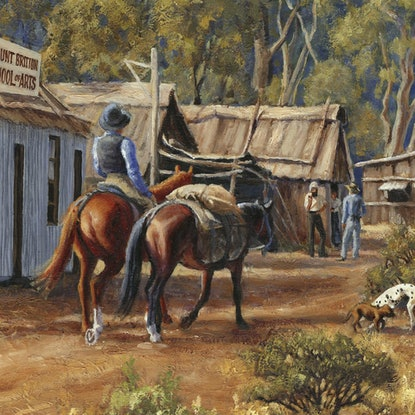 (CreativeWork) THE MAIN STREET OF MOUNT BRITTON, 1882 by Ron and Jennifer Marshall. Mixed Media. Shop online at Bluethumb.